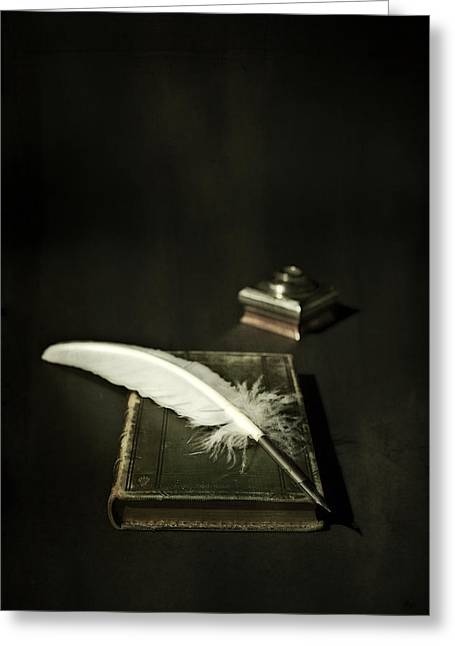 Book Greeting Cards - Feather Greeting Card by Joana Kruse