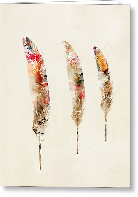 Eagle Feathers Greeting Cards - 3 Feathers Greeting Card by Bri Buckley