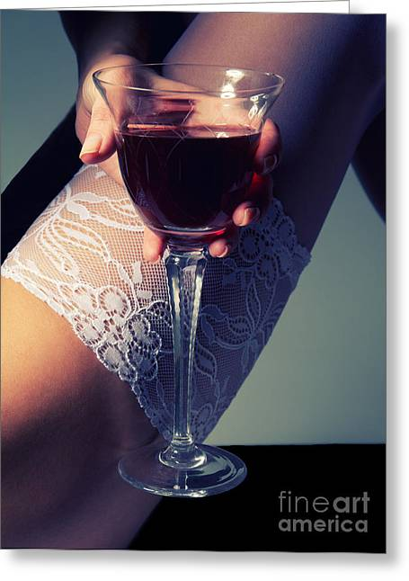 Wine Legs Greeting Cards - Feet With Wine Greeting Card by Aleksey Tugolukov