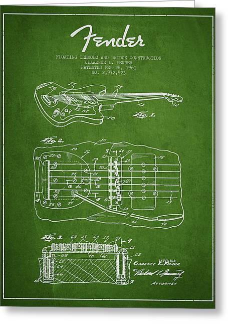 Tremolo Greeting Cards - Fender Floating Tremolo patent Drawing from 1961 - Green Greeting Card by Aged Pixel