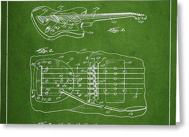 Fender Floating Tremolo patent Drawing from 1961 - Green Greeting Card by Aged Pixel