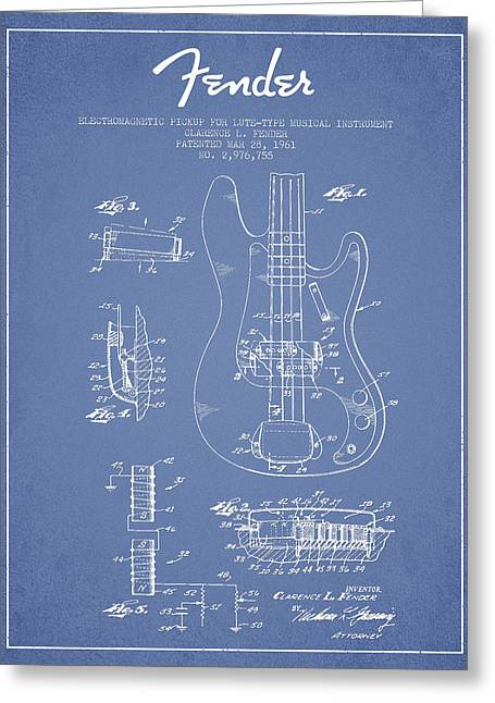 Bass Digital Art Greeting Cards - Fender Guitar Patent Drawing from 1961 Greeting Card by Aged Pixel
