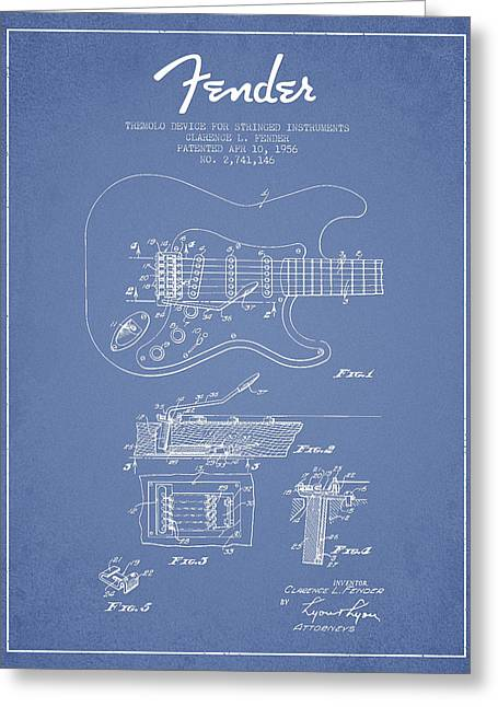 Bass Digital Art Greeting Cards - Fender Tremolo Device patent Drawing from 1956 Greeting Card by Aged Pixel