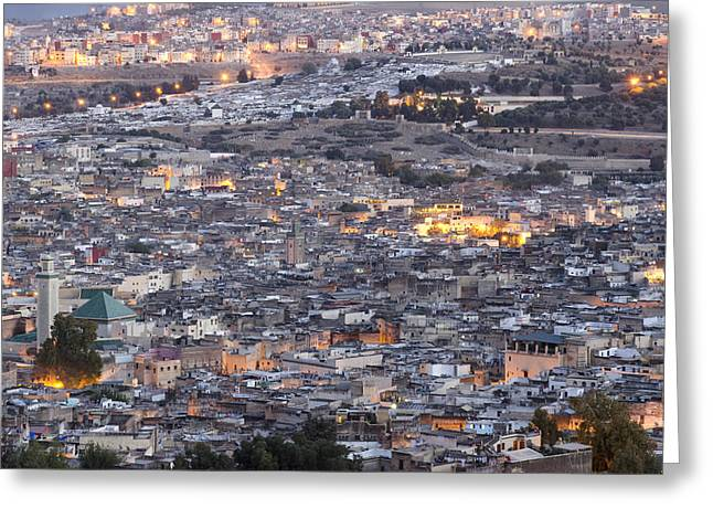 African Heritage Greeting Cards - Fes medina at dusk Morocco Greeting Card by Martin Turzak