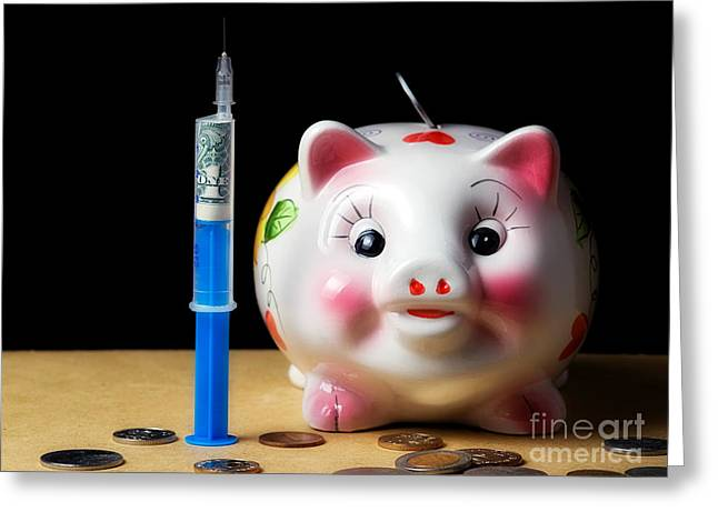 Injections Greeting Cards - Financial injection Greeting Card by Sinisa Botas