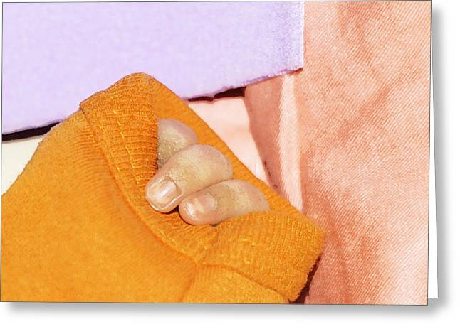 Indian Greeting Cards - 3 Fingers Of A Baby Emerging From An Orange Colored Sweater Greeting Card by Ashish Agarwal