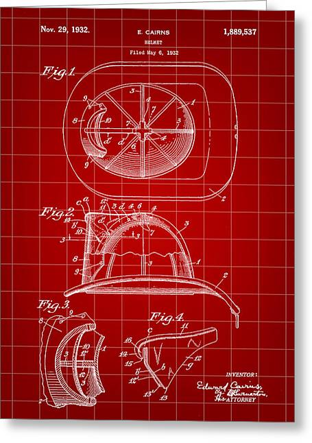 Hazmat Greeting Cards - Firefighters Helmet Patent 1932 - Red Greeting Card by Stephen Younts