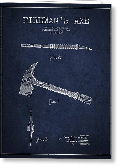 Rescue Greeting Cards - Fireman Axe Patent drawing from 1940 Greeting Card by Aged Pixel