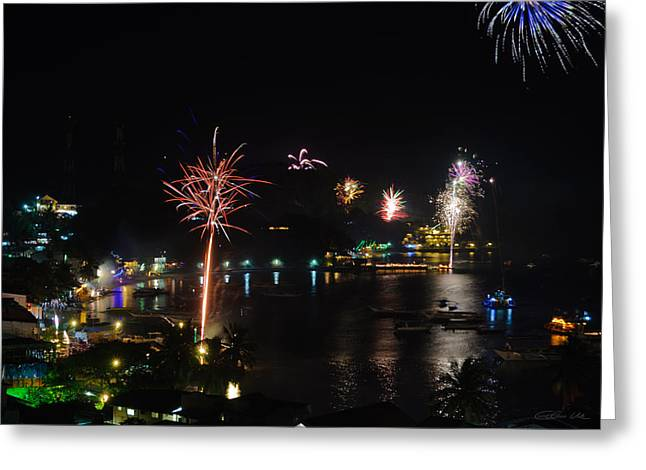 Asien Greeting Cards - Fireworks Display Over A Tropical Village Greeting Card by Colin Utz