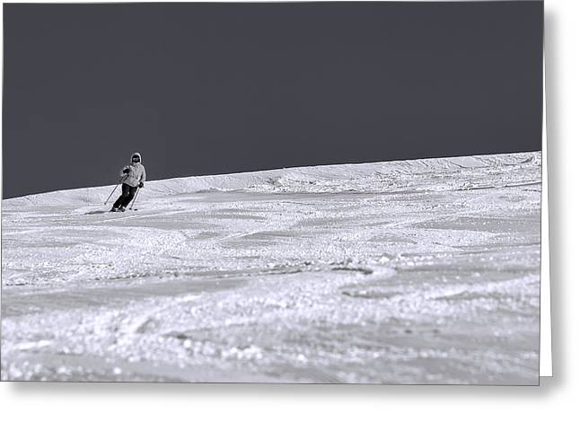 Slope Greeting Cards - First Run Greeting Card by Sebastian Musial