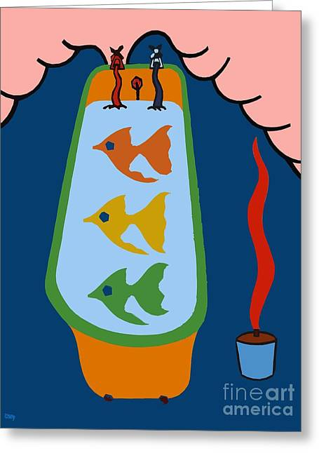 Fish Prints Mixed Media Greeting Cards - 3 Fish In A Tub Greeting Card by Patrick J Murphy