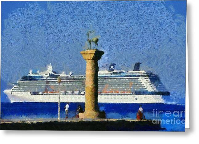 Dodecanese Greeting Cards - Fishing at the entrance of Mandraki port Greeting Card by George Atsametakis