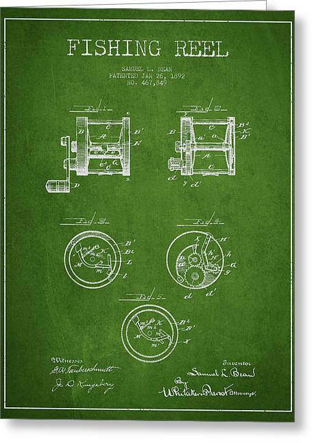 Fishing Reel Patent From 1892 Greeting Card by Aged Pixel