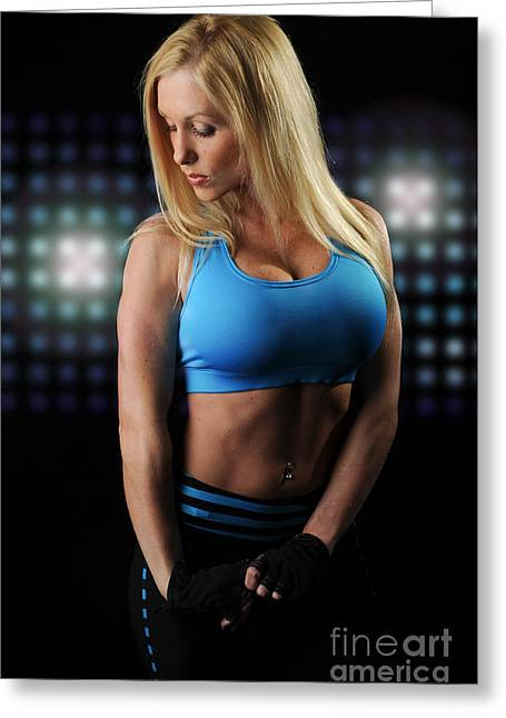Sweat Greeting Cards - Fitness Model Greeting Card by Jt PhotoDesign