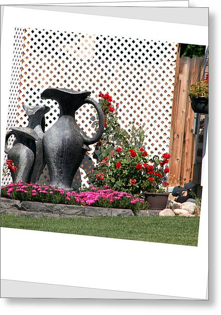 Water Jug Greeting Cards - Flower garden. Greeting Card by Oscar Williams