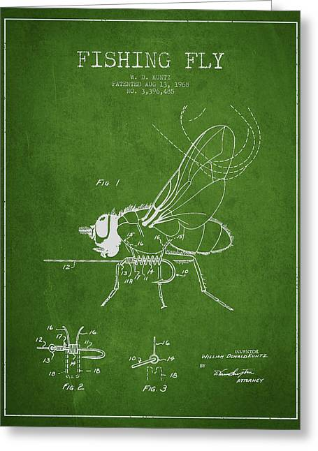 Tackle Greeting Cards - Fishing Fly Patent Drawing from 1968 - Green Greeting Card by Aged Pixel