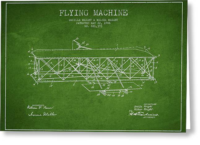 Airplane Greeting Cards - Flying Machine Patent Drawing from 1906 Greeting Card by Aged Pixel