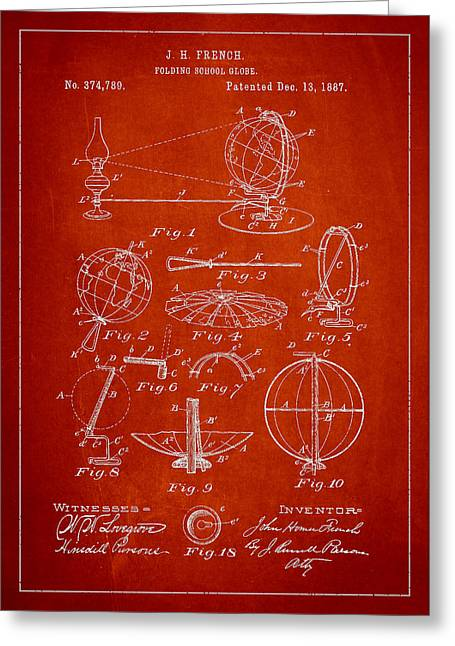 Continent Greeting Cards - Folding School Globe Patent Drawing From 1887 Greeting Card by Aged Pixel