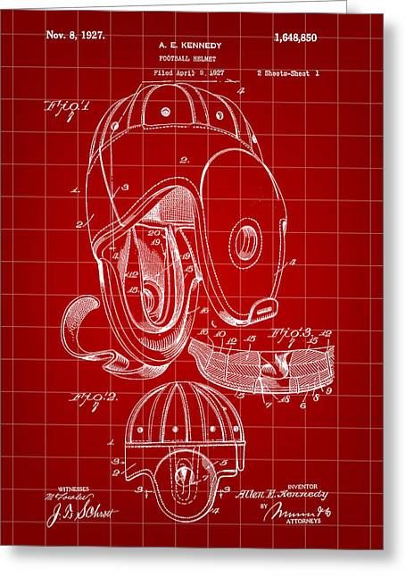 Pro Football Digital Greeting Cards - Football Helmet Patent 1927 - Red Greeting Card by Stephen Younts