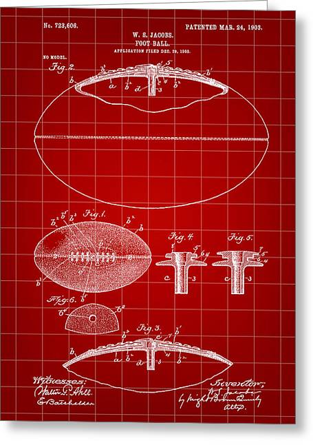 Pro Football Digital Greeting Cards - Football Patent 1902 - Red Greeting Card by Stephen Younts