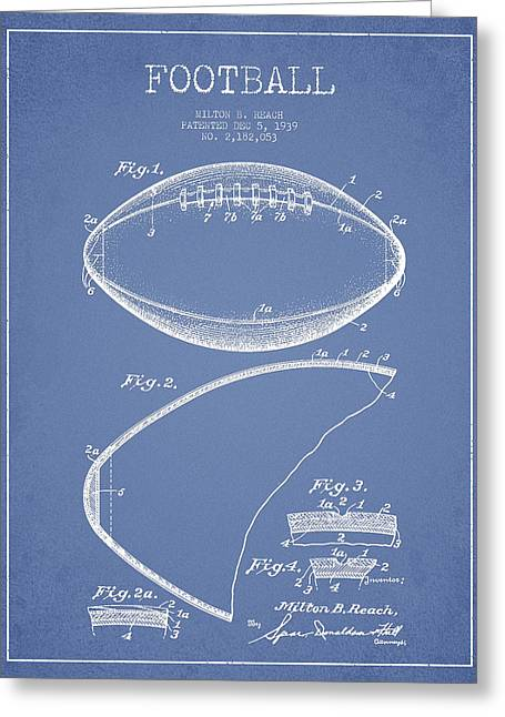 Football Digital Art Greeting Cards - Football Patent Drawing from 1939 Greeting Card by Aged Pixel