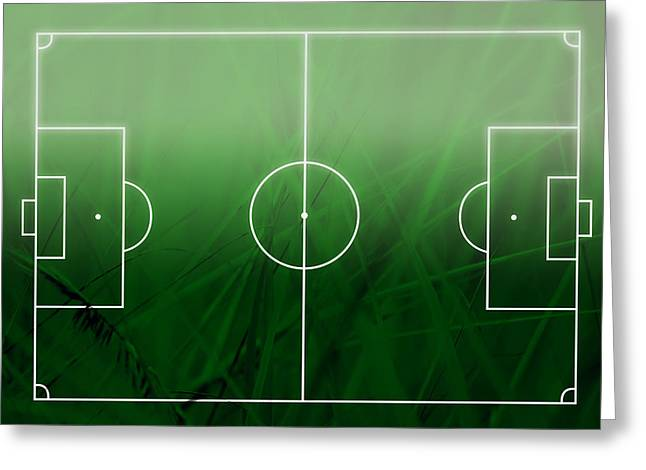 Footie Greeting Cards - Football  Soccer Field Greeting Card by GP Images