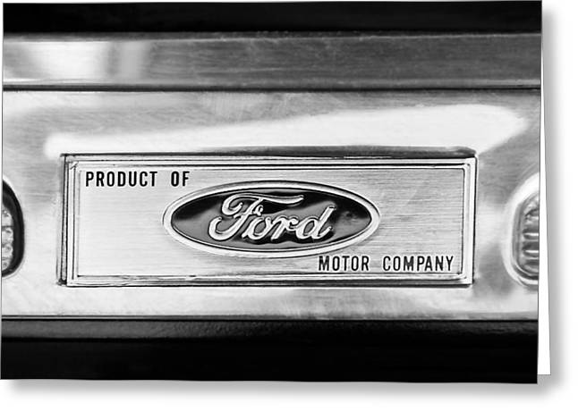 Power Photographs Greeting Cards - Powered by Ford Emblem -0307BW Greeting Card by Jill Reger