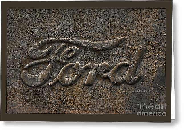 Embossed. Greeting Cards - Ford Tough Antique Truck Logo Greeting Card by John Stephens