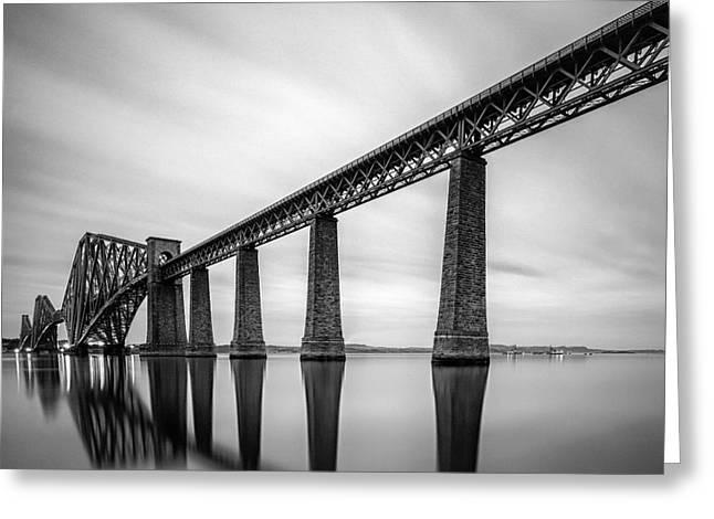 Mono Landscape Greeting Cards - Forth Rail Bridge Greeting Card by John Farnan
