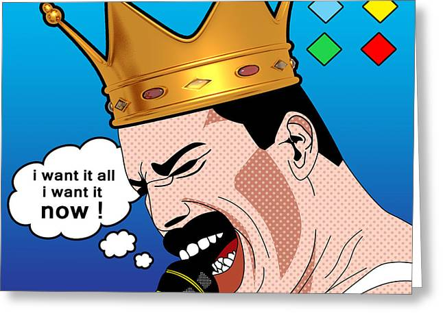 80s Pop Music Greeting Cards - Freddie Mercury Greeting Card by Mark Ashkenazi