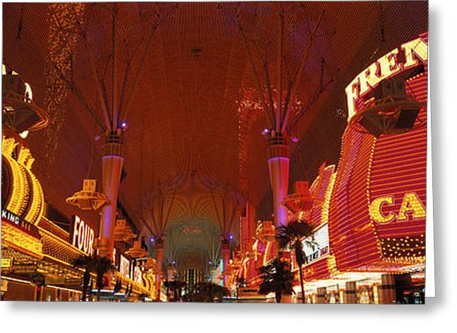 Gambler Greeting Cards - Fremont Street Experience Las Vegas Nv Greeting Card by Panoramic Images
