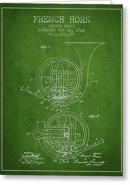 French Horn Greeting Cards - French Horn Patent from 1914 - Green Greeting Card by Aged Pixel