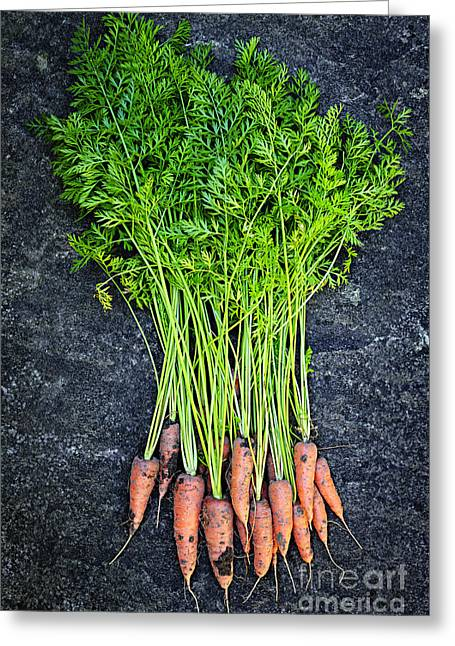 Healthy Greeting Cards - Fresh carrots from garden Greeting Card by Elena Elisseeva
