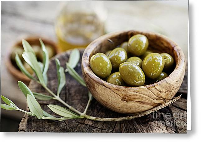 Fresh Olives Greeting Card by Mythja  Photography