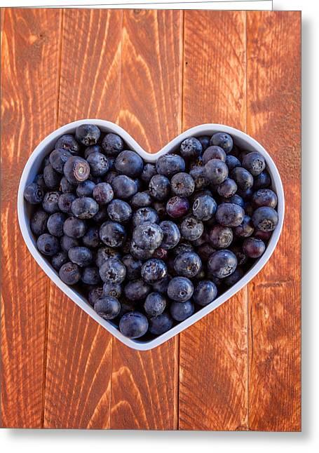 Fresh Picked Organic Blueberries Greeting Card by Teri Virbickis