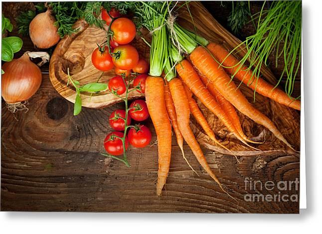 Mythja Photographs Greeting Cards - Fresh vegetables Greeting Card by Mythja  Photography