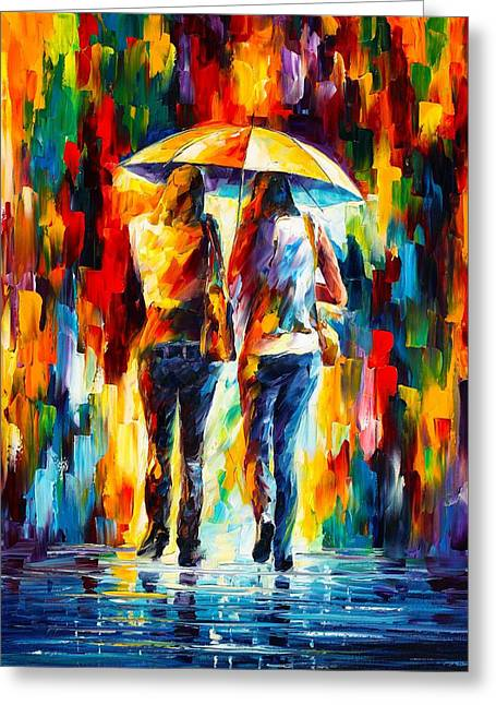 Owner Greeting Cards - Friends Under The Rain Greeting Card by Leonid Afremov