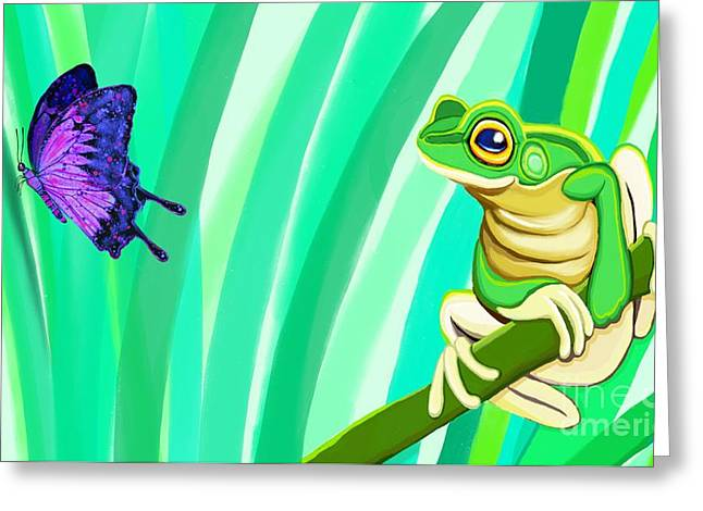 Tree Frog Greeting Cards - Frog and Butterfly Greeting Card by Nick Gustafson