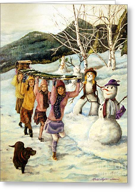 Little Girl Greeting Cards - Frosty Frolic Greeting Card by Linda Simon