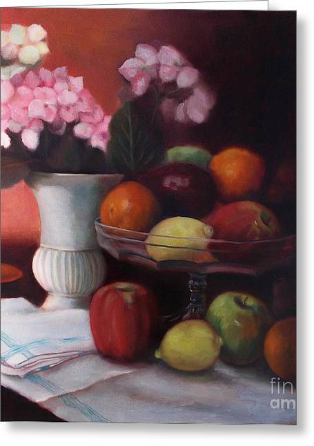 Still Life With Green Apples Greeting Cards - Fruit on Glass Dish Greeting Card by Marlene Book