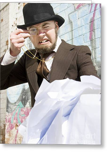 Frustrated Businessman Greeting Card by Jorgo Photography - Wall Art Gallery