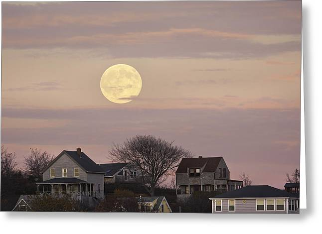 Shining Down Greeting Cards - Full Moon Over Georgetown Island Maine Greeting Card by Keith Webber Jr
