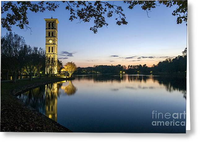 Furman Greeting Cards - Furman University Bell Tower at Sunset  Greenville SC Greeting Card by Willie Harper