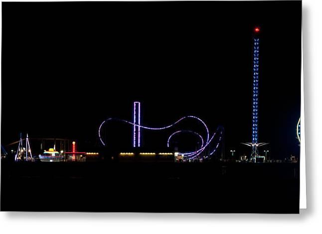 Beach At Night Greeting Cards - Galveston Texas Pleasure Pier At Night Greeting Card by Todd Aaron
