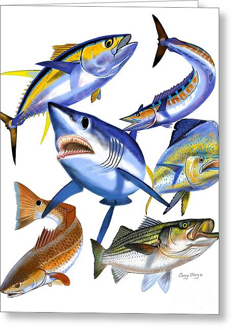 Striped Marlin Greeting Cards - Gamefish collage Greeting Card by Carey Chen