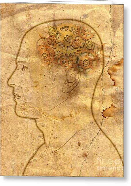 Visionaries Designs Greeting Cards - Gears In The Head Greeting Card by Michal Boubin