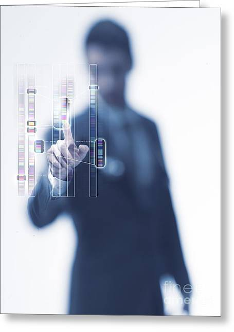 Human Biology Greeting Cards - Genetic Analysis, Conceptual Image Greeting Card by Science Photo Library