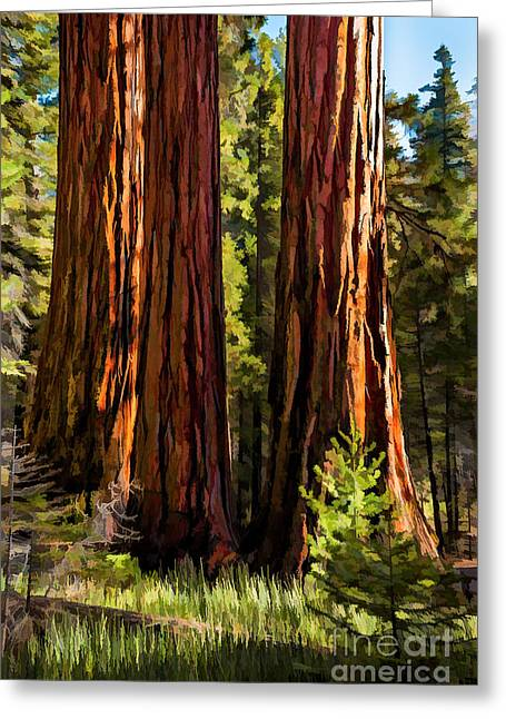 A Pine Grove Greeting Cards - 3 Gentle Giants Greeting Card by Kim Price