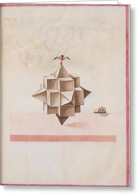 Anonymous Drawings Greeting Cards - Geometric Perspective 16th century anonymous paper manuscript Greeting Card by Celestial Images