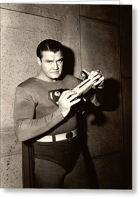 Reeves Greeting Cards - George Reeves in Adventures of Superman  Greeting Card by Silver Screen